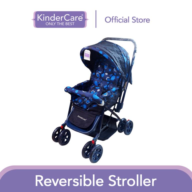 KinderCare Reversible Baby Stroller (Dark Blue) | Removable Handlebar With Large Basket