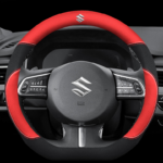 Suzuki Car Steering Wheel Cover (D Shape Red) Leather Suitable for All Suzuki Cars Swift Grand Vitara Jimny SX4 Alto APV Vitara 38CM