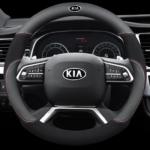 KIA Car Steering Wheel Cover (Round Shape Black) Leather Suitable for All KIA Cars Cerato Forte Optima Picanto Sorento Sportage K2 K3 K4 K5 38CM