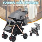 Grey Infant Baby Travel Pushchair Folding Bigger Kids Stroller + Storage Basket