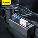 Baseus Metal Car Seat Gap Organizer Car Seat Gap Filler Multifunctional Small Cup Holder Storage Box with Dual USB Charging