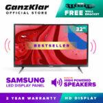 [FREE Bracket] GanzKlar 32 Inch Ultra-slim HD LED TV [3299]  Samsung LED panel inside  extra-loud sound w/ built-in high powered speakers  1366x768  2 year warranty (black)
